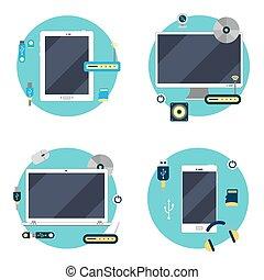 tablette, icônes, set., moderne, illustration, ordinateur portable, vecteur, technology:, informatique, smartphone.