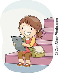 tablette, illustration, étudiant, girl, escalier, gosse