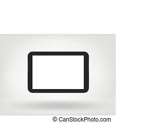 tablette, illustration, moderne, isolé, écran ordinateur, vide