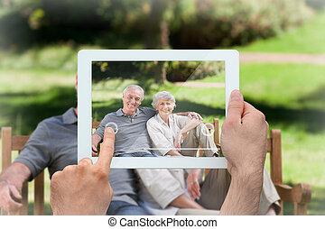 tablette, image composée, main, pc, tenue