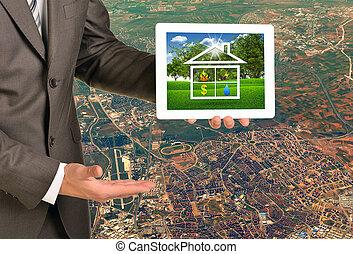 tablette, image, pc, tenant mains, maison, écran, icône