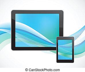 tablette, informatique, à, intelligent, téléphone