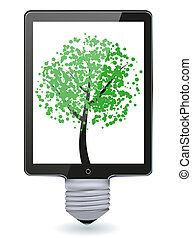 tablette, informatique, créatif, vecteur, ampoule, light., idée, concept