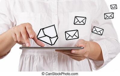 tablette, informatique, e-mail, icônes