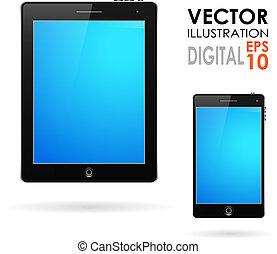 tablette, informatique, et, téléphone portable