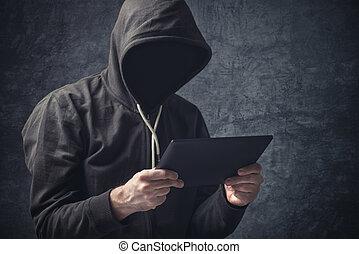 tablette, informatique, unrecognizable, anonyme, homme ...