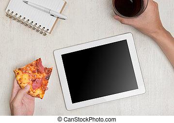 tablette, ingrédients, bois, savoureux, tenue, homme numérique, table., pizza