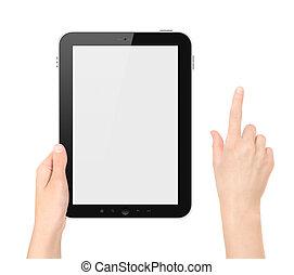 tablette, isolé, main, pc, toucher, tenue