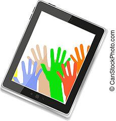 tablette, isolé, pc, numérique, homme affaires, blanc, hands.