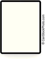 tablette, isolé, vecteur, numérique, blanc, dessin