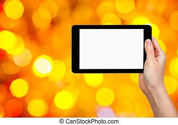 tablette, jaune, main, pc, fond, rouges