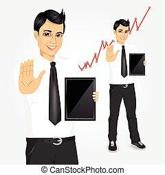 tablette, jeune, homme affaires, écran