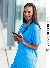 tablette, jeune, informatique, tenue, africaine, infirmière