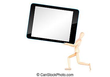 tablette, leerer , hintergrund, freigestellt, computerbildschirm, weißes