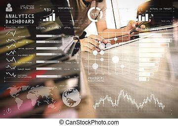 tablette, livre, numérique, fonctionnement, ordinateur portable, bois, concepteur, oeil, informatique, pile, bureau, main, concept, verre