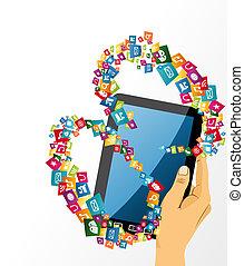 tablette, média, icons., main, pc, humain, social