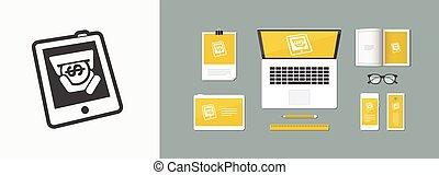 tablette, magasin, icône
