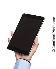tablette, main