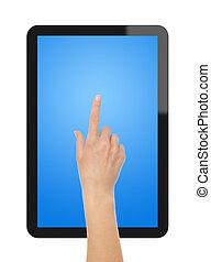 tablette, main, pc