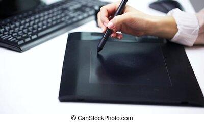 tablette, main, stylus, stylo, femme, dessin
