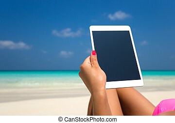 tablette, mains, informatique, vide, plage, vide, femmes