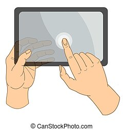 tablette, mains, touchscreen, computer., humain, prise