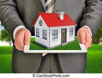 tablette, maison, écran, toit, petit, pc., mains, toucher, prise, rouges