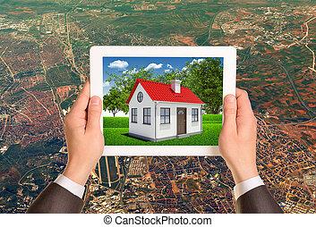tablette, maison, image, pc, tenant mains, écran