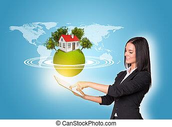 tablette, maison, la terre, numérique, utilisation, femmes