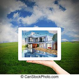 tablette, maison, projection, projet, rendre, architecte, nouveau, 3d