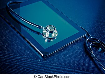 tablette, medizin, modern, holz, stethoskop, digital, laboratorium, tisch