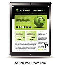 tablette, mit, a, webseite, schablone
