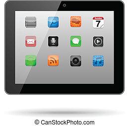 tablette, mit, app, heiligenbilder