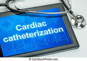 tablette, mit, der, text, herz catheterization, auf, der,...