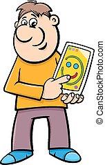 tablette, mit, tablette pc, karikatur