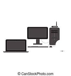 tablette, mobile, ensemble, icône, ordinateur portable, exposer, informatique