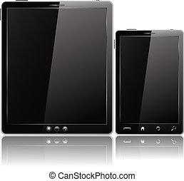 tablette, mobile, noir, téléphone, pc