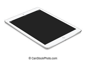 tablette, mockup, surfa, écran, mensonges, informatique, vide, blanc