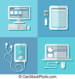 tablette, moderne, accessoires, ordinateur portable, informatique, technologies:, téléphone, intelligent