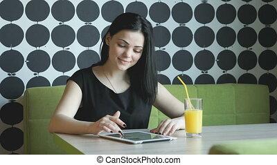 tablette, montres, photos, informatique, utilisation, girl, argent