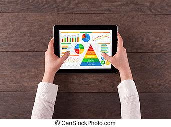tablette, nourriture, quotidiennement, main, rapport, analyser