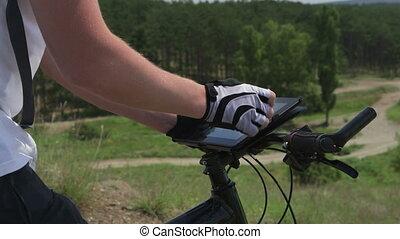 tablette, numérique, cycliste, utilisation