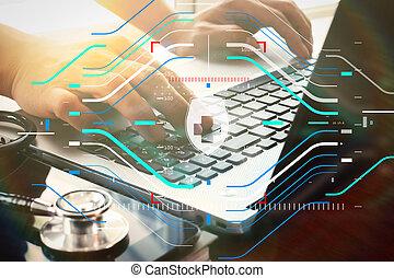 tablette, numérique, fonctionnement, docteur, ordinateur portable, espace de travail, bureau, informatique, couvert, monde médical, effet