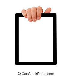 tablette, numérique, homme affaires, main., pc