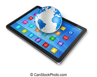 tablette numérique, informatique, et, globe mondial