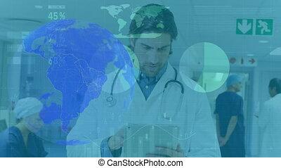 tablette, numérique, mâle, animation, globe tournant, utilisation, docteur, hôpital