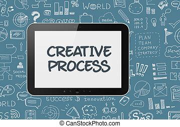 tablette, numérique, processus, fond, brain-storming