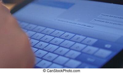 tablette numérique, virtuel, clavier