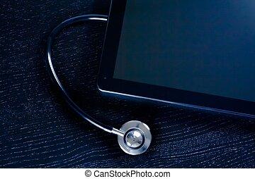 tablette, oberseite, modern, pc, holz, stethoskop, digital, laboratorium, tisch, medizin, ansicht