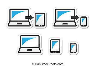 tablette, -, ordinateur portable, conception, sensible
